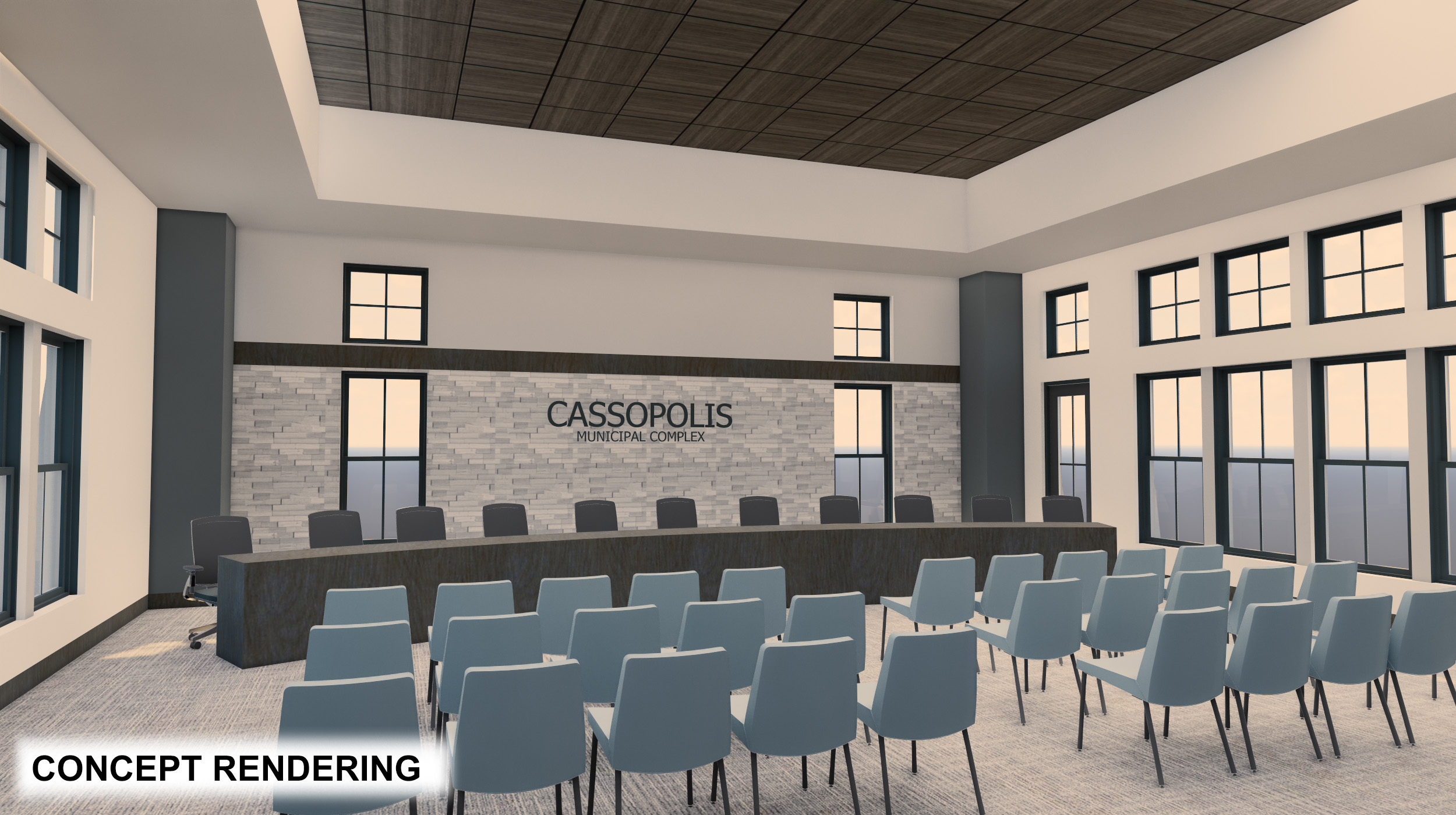 Cassopolis Municipal Building Meeting Hall with furniture rendering