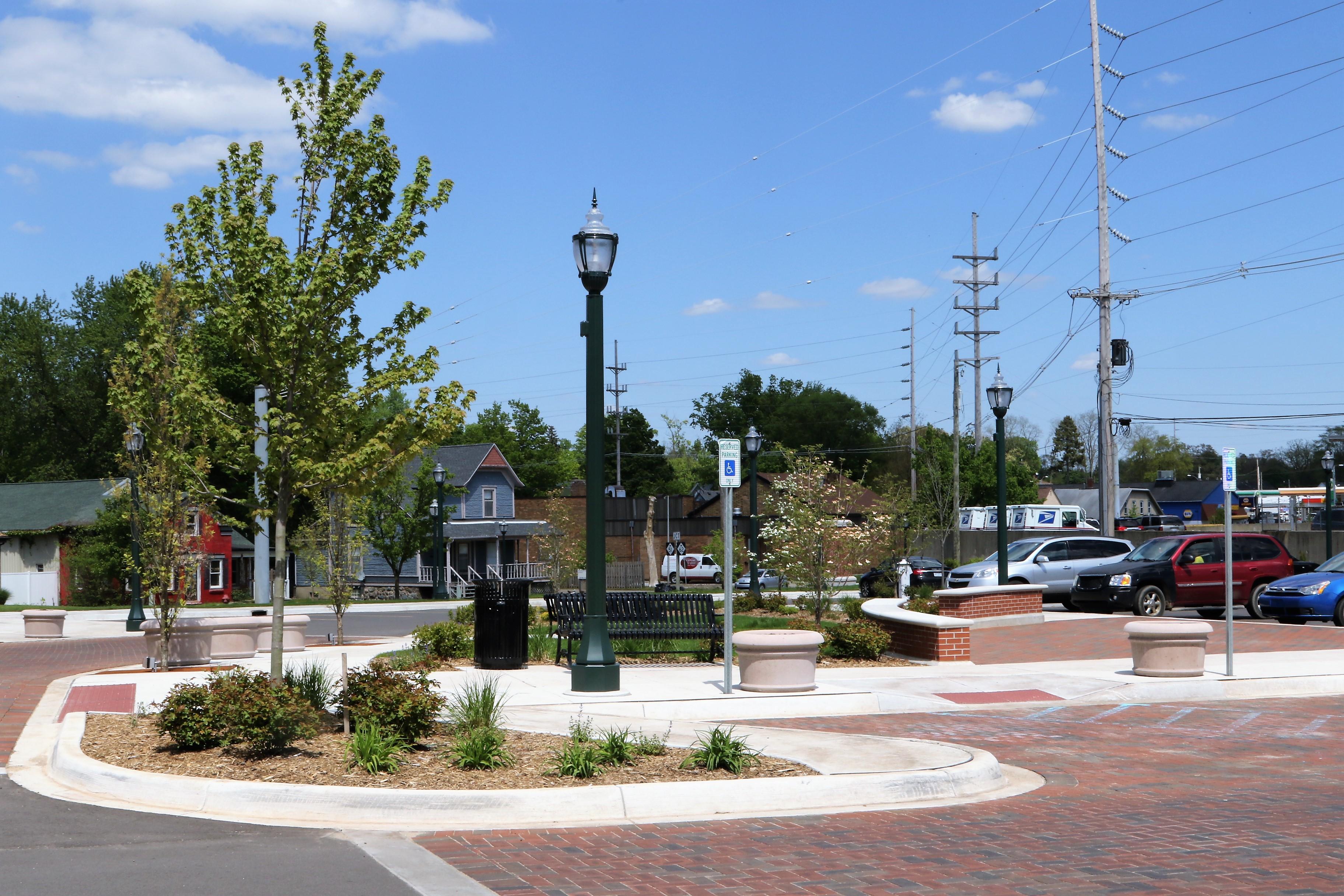 Dowagiac Quality of Life trees bricks lightpole curb