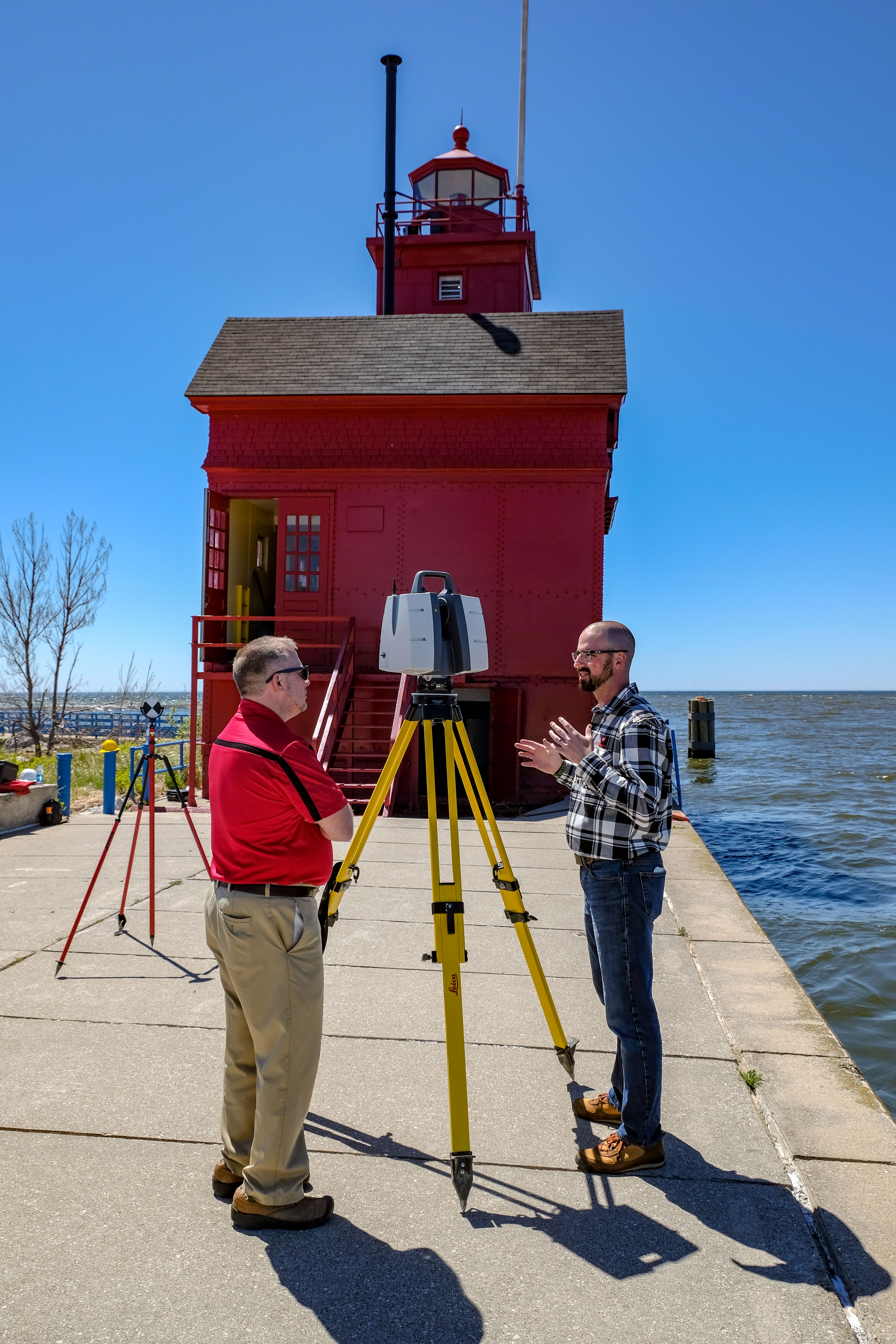 Holland Lighthouse Wightman employees scanner setup