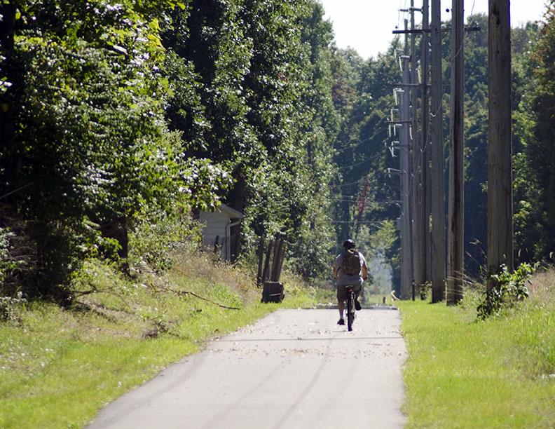 Indiana Michigan River Valley Trail biker on path