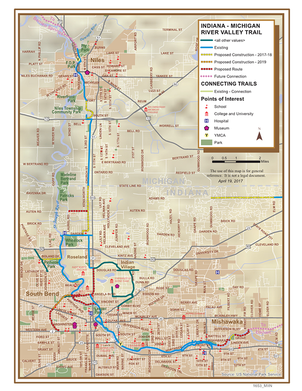 Indiana Michigan River Valley Trail trail map