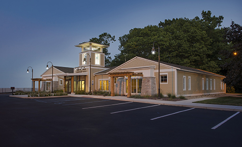 New Buffalo Township Hall twilight exterior