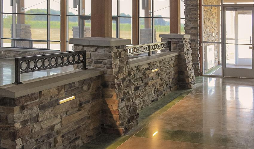 Pokagon Community Center Stone Wall Interior