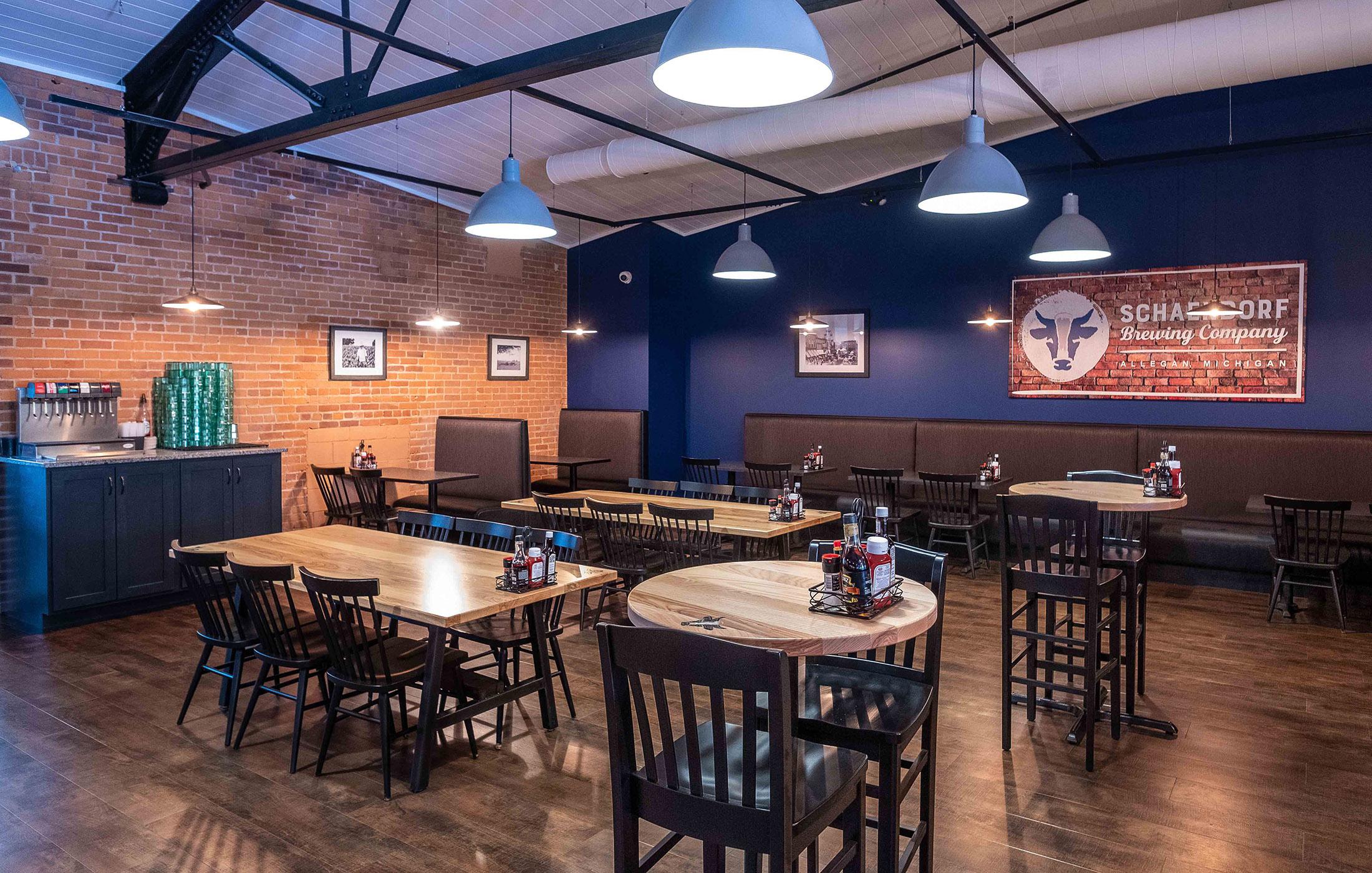 Schaendorf Brewery Interior Blue Wall Tables
