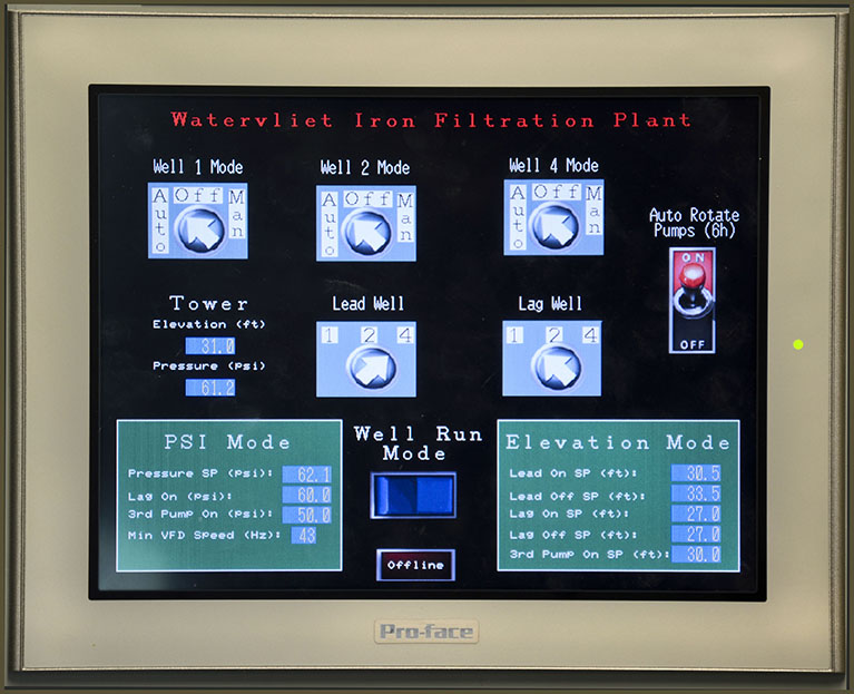 Watervliet Iron Filtration Plant gauge readout