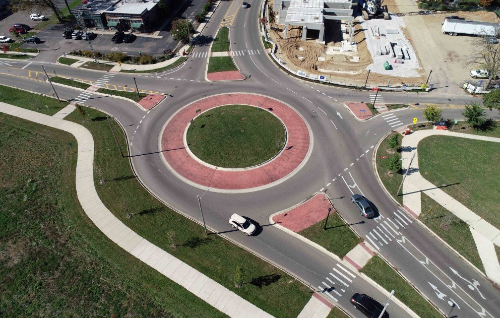 Kalamazoo Roundabout Aerial With Buildings