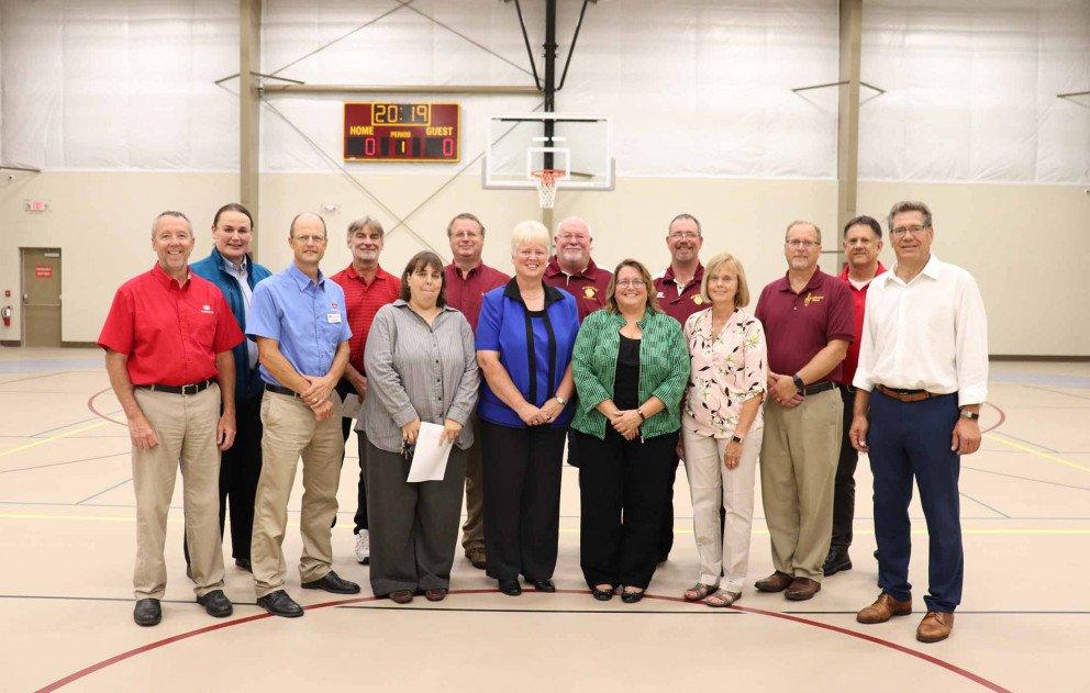 Brandywine Gym with School Superintendent Board Members Wightman Staff