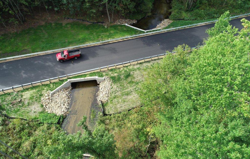 Halbert Road Culvert Final with Wightman Truck on Road