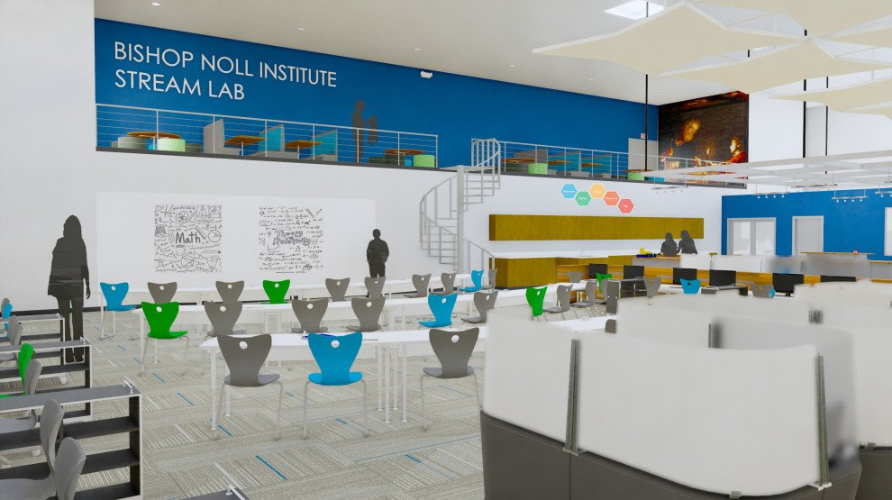 Bishop Noll STREAM lab rendering with seating murals staircase