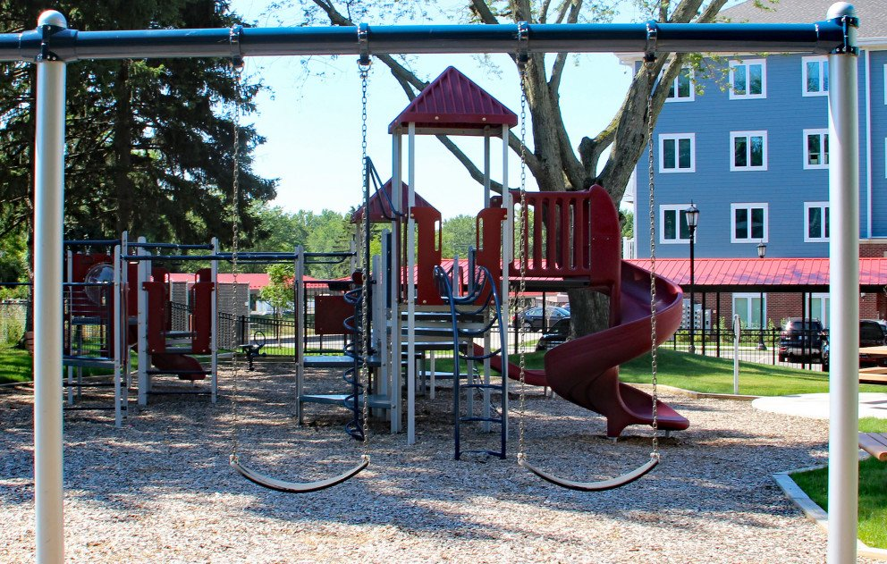 Lookout Point Playground through Swings