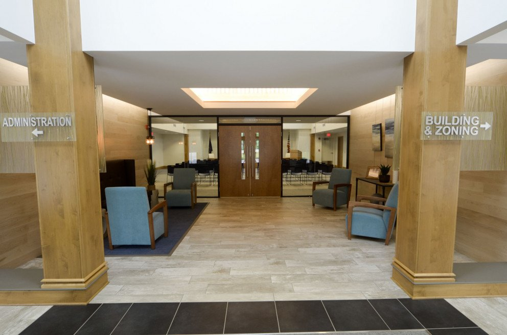 New Buffalo Township Hall chambers entrance