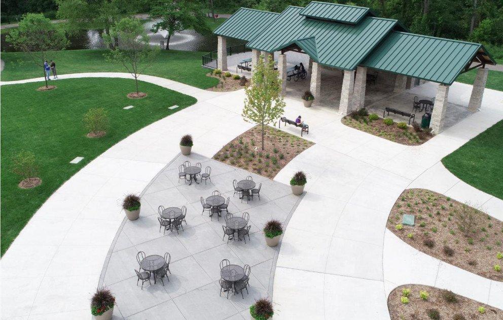 Celery Flats Pavilion Overhead View of Sidewalks and Pavilion