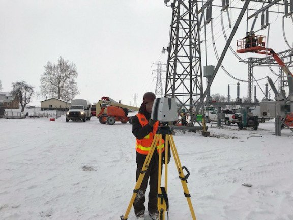 AEP Utilities transmission lines survey scanner winter