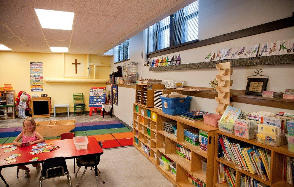 Trinity Lutheran Preschool Room Bookcase Wall