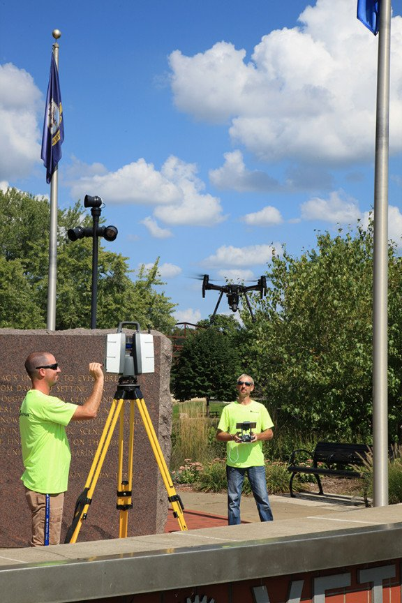 Rose Park Veterans Memorial reality capture team with drone and scanner