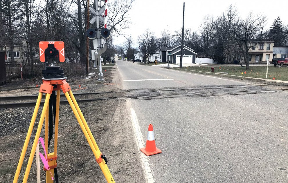 Survey backsight setup for a topographic survey in Moline MI