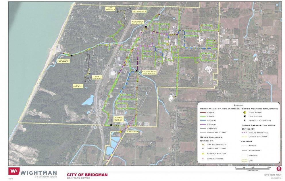 Bridgman Sewer System Map