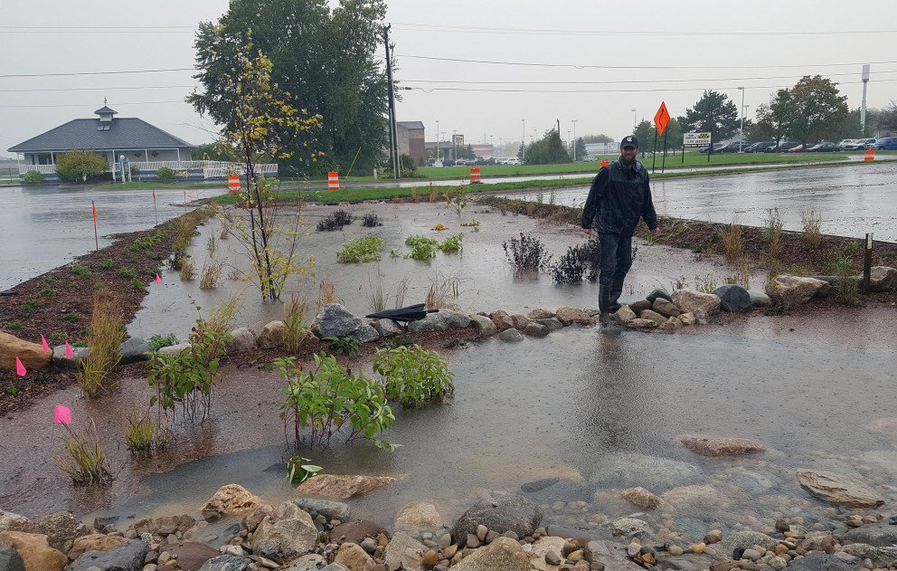 Ox Creek Rain Garden Water Filled