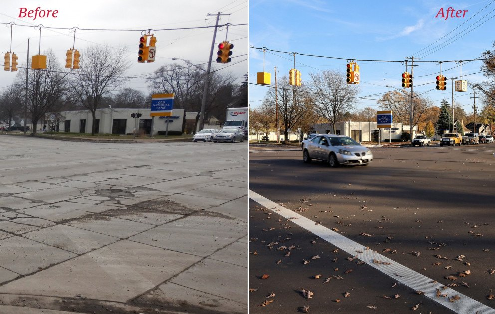 Cork St at Portage St Before and After