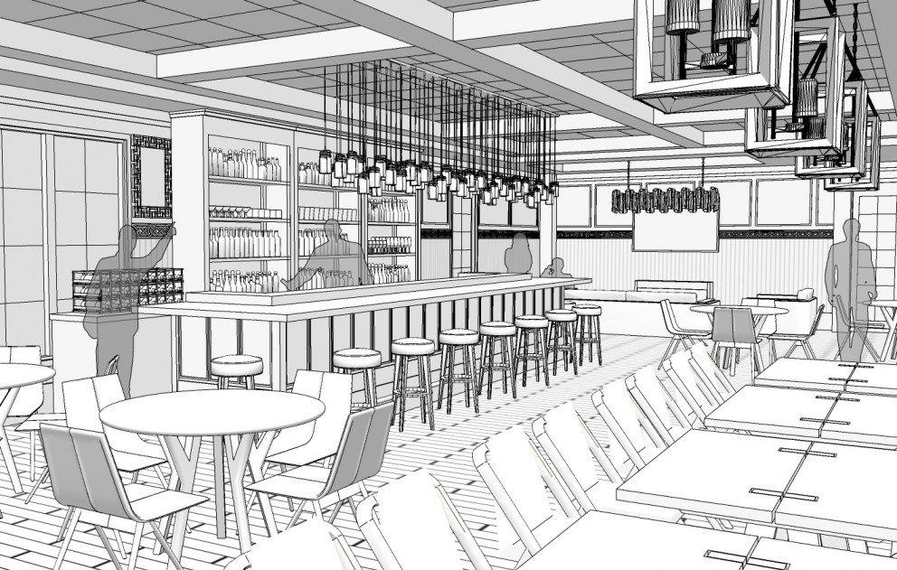 Bar area opposite side rendering