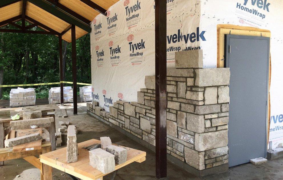 Eliason Trailhead Pavilion Block Being Laid