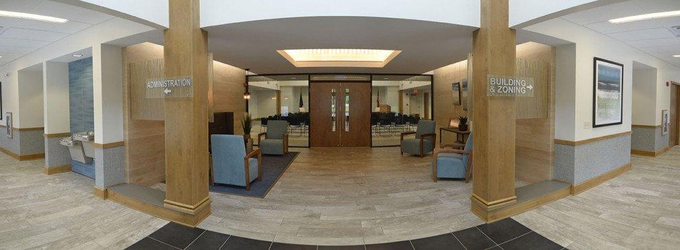 New Buffalo Township Hall panoramic entrance