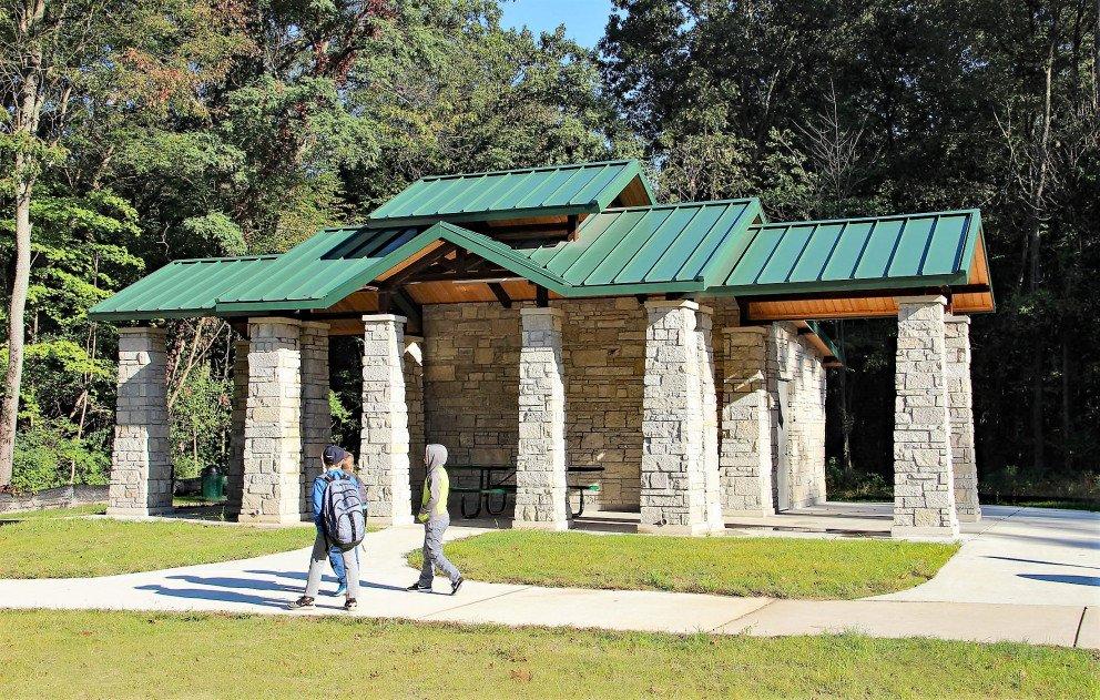 Eliason Trailhead Pavilion With Children Walking
