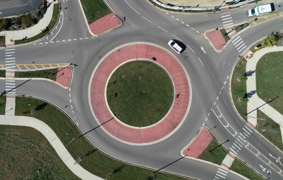 Kalamazoo Roundabout Aerial With Car