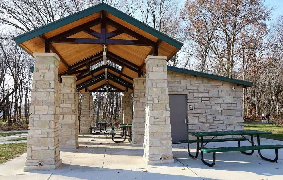 Eliason Trailhead Pavilion Restroom and Picnic Tables