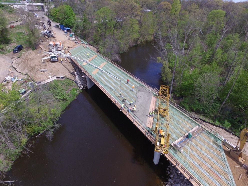 Raymond Road over Kalamazoo River aerial
