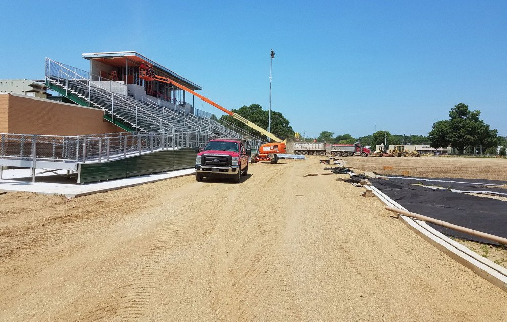 Sylvester Stadium Track Preparation Stadium Bleacher Construction