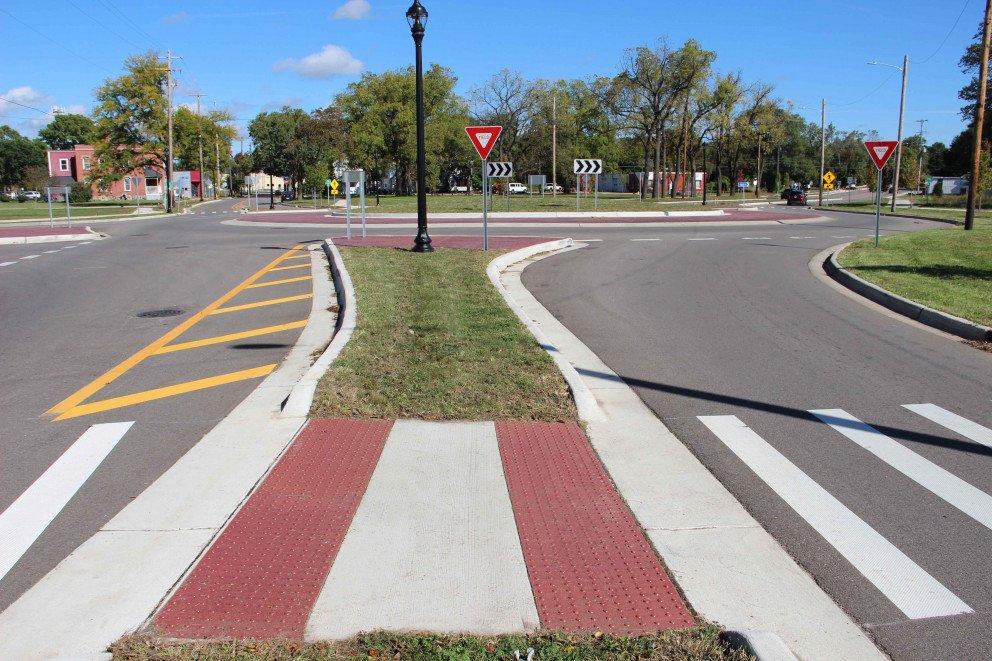 Kalamazoo Roundabout mid road sidewalk pedestrian area
