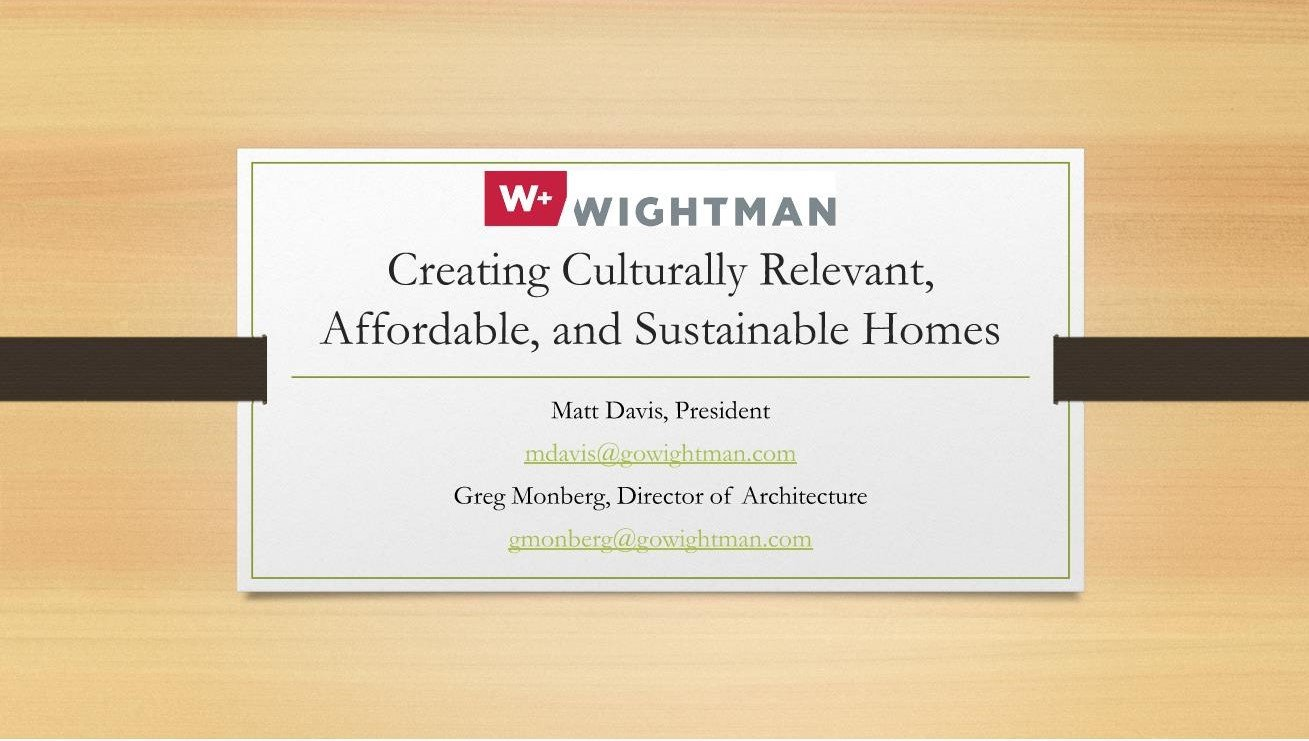Wightman presentation on affordable housing