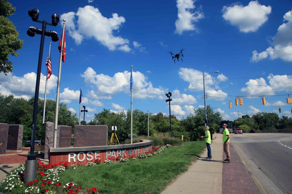 Rose Park drone scanning from sidewalk