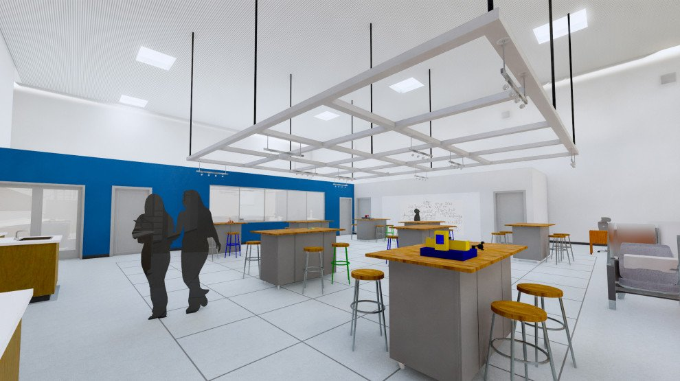 Bishop Noll STREAM lab rendering with lighting lab stations