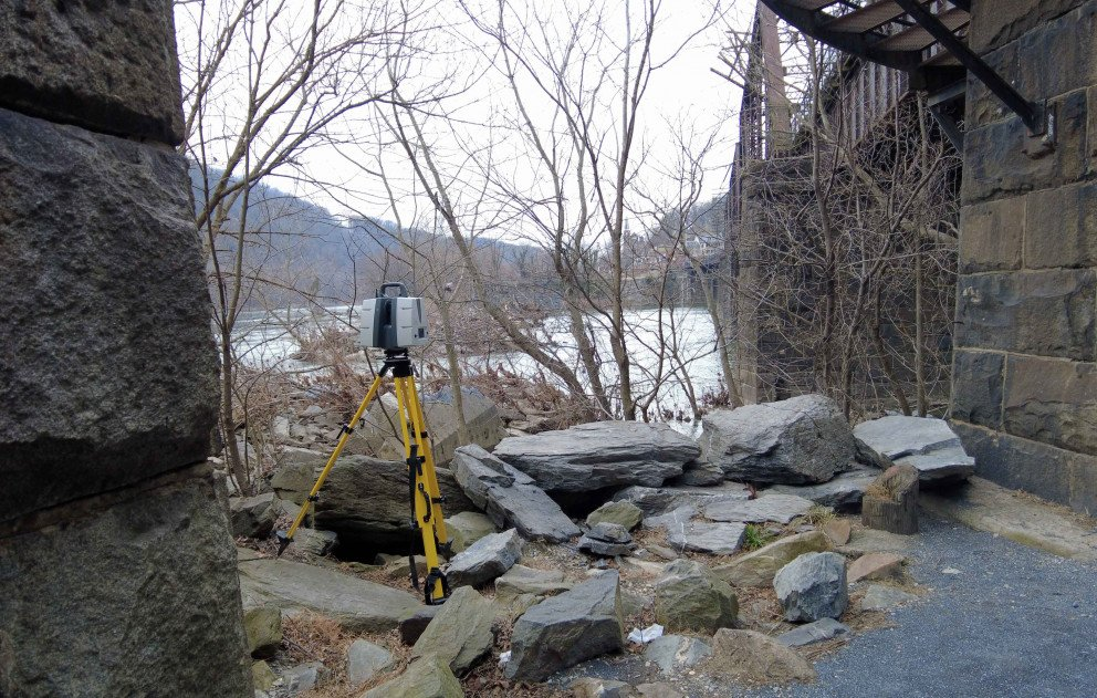 Scanning Equipment Pointed Across the River in Harpers Ferry