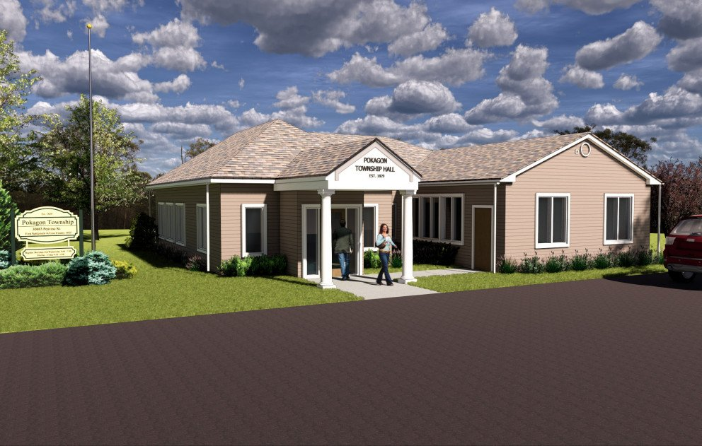 Pokagon Township Hall Rendering with Hip Roof