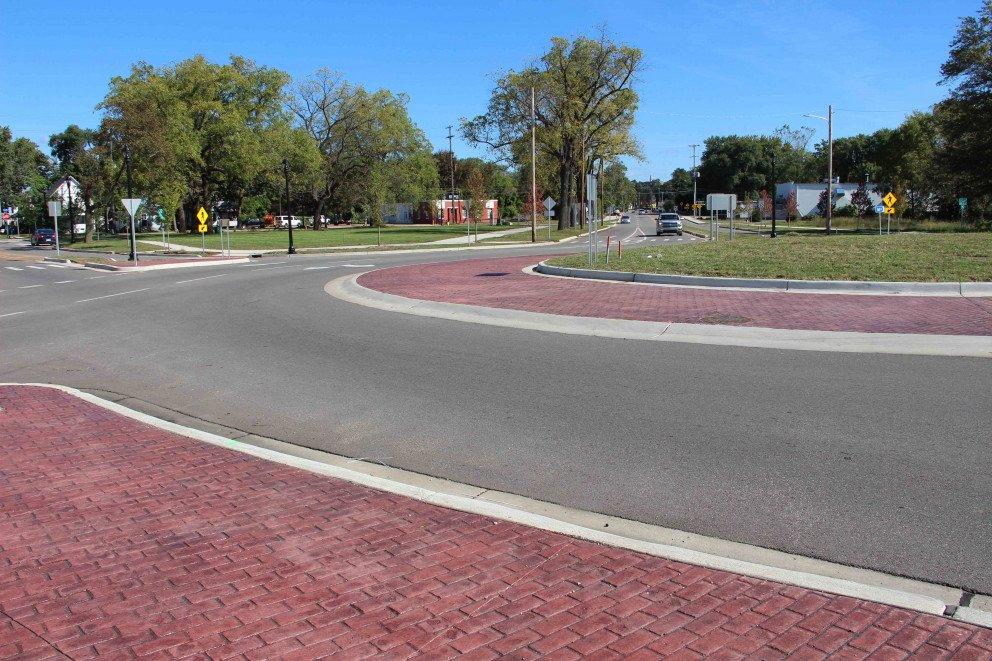 Kalamazoo Roundabout brick sidewalk