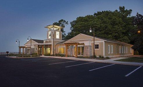New Buffalo Township Hall twilight exterior