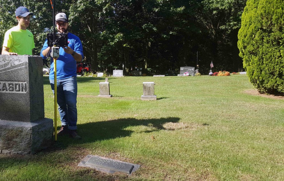 Cemetery Mapping Staff with GPS Equipment