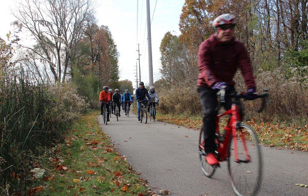 Indiana Michigan Trail Biker Speeding Down Lane