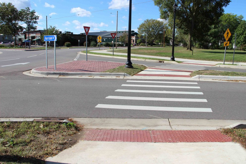Kalamazoo Roundabout two lanes sidewalk pedestrian crossing view